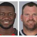 From left are 2014, file photos showing Tampa Bay Buccaneers' Tim Wright, and New England Patriots' Logan Mankins. The Buccaneers addressed a need to upgrade their struggling offensive line by obtaining six-time Pro Bowl guard Logan Mankins from the Patri