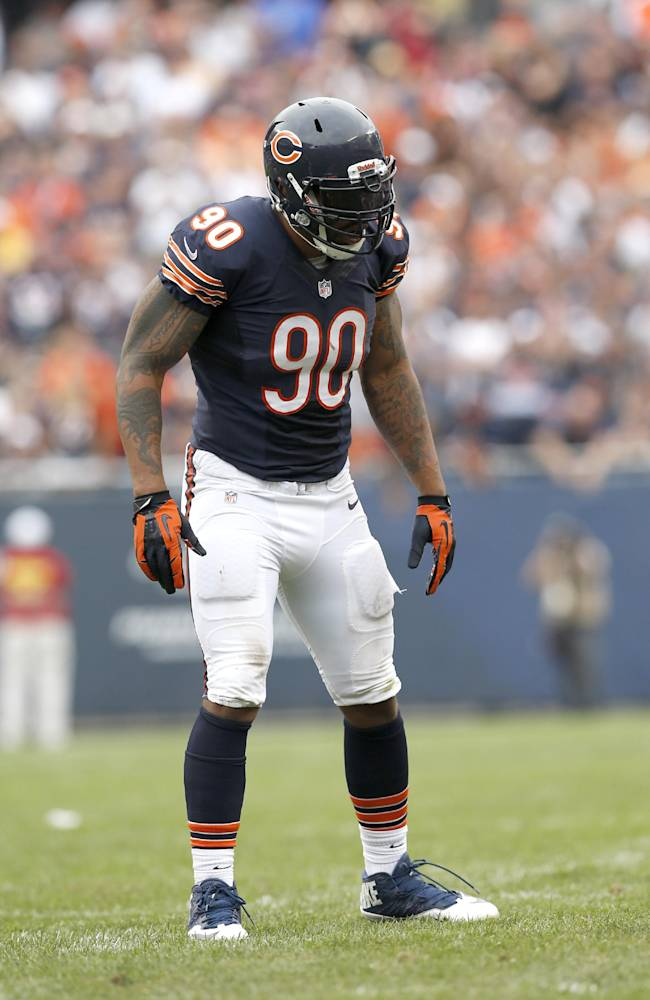 In this Sunday, Sept. 8, 2013, photo, Chicago Bears defensive end Julius Peppers waits for the next play during an NFL football game against the Cincinnati Bengals in Chicago. The Bears visit the Pittsburgh Steelers on Sunday, and the star defensive end made it clear. The pass rush that's been missing so far will be there in force when they go up against Ben Roethlisberger