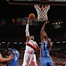 PORTLAND, OR - OCTOBER 29: LaMarcus Aldridge #12 of the Portland Trail Blazers shoots against the Oklahoma City Thunder on October 29, 2014 in Portland, OR. (Photo by Cameron Browne/NBAE via Getty Images)
