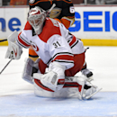 Carolina Hurricanes goalie Anton Khudobin, of Kazakhstan, gives up a goal to Anaheim Ducks center Ryan Kesler during the second period of an NHL hockey game, Tuesday, Feb. 3, 2015, in Anaheim, Calif The Associated Press