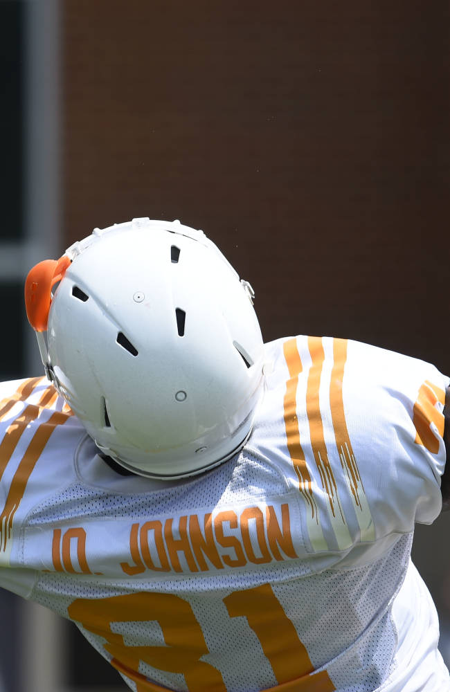 University of Tennessee wide receiver Johnathon Johnson makes a catch during football practice Tuesday, Aug. 12, 2014, in Knoxville, Tenn. (AP Photo, Amy Smotherman Burgess/Knoxville News Sentinel)