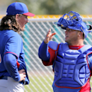 Chicago Cubs pitcher Jeff Samardzija (29) talks with catcher Welington Castillo during the team's first spring training baseball practice, Friday, Feb. 14, 2014, in Mesa, Ariz The Associated Press