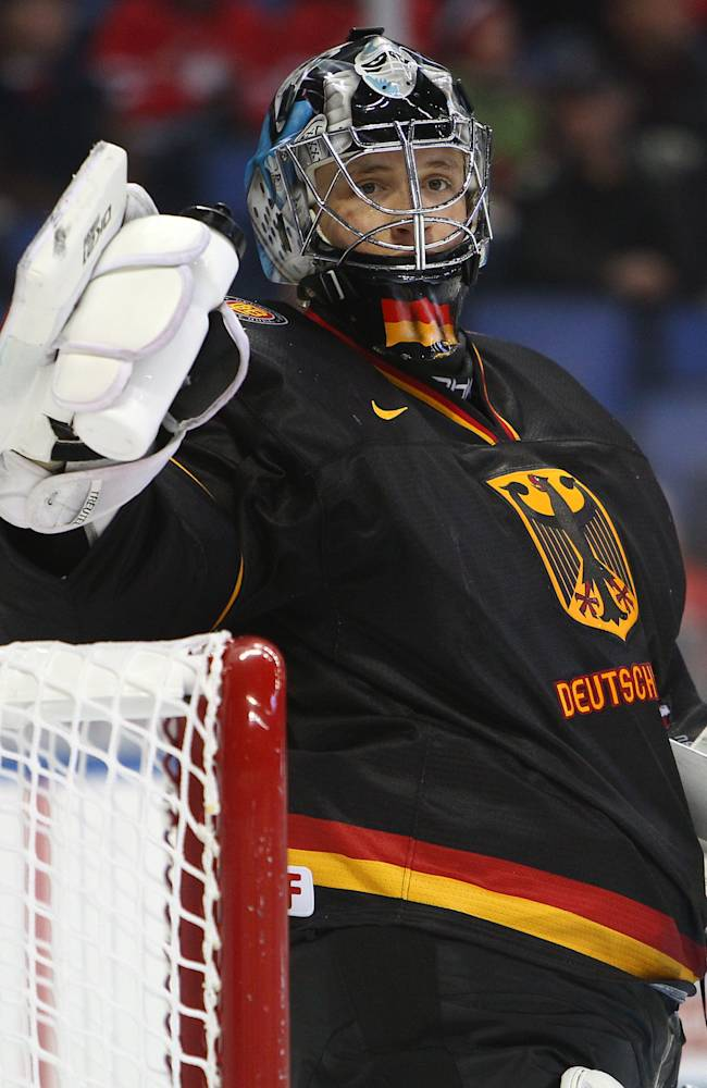 Goalie Niklas Treutle #1 of Germany during the 2011 IIHF World U20 Championship Group A game between Germany and Switzerland on December 26, 2010 at HSBC Arena in Buffalo, New York. (Photo by Tom Szczerbowski/Getty Images)