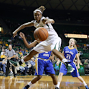 Baylor forward Nina Davis (13) reaches for a loose ball over San Jose State forward Rachol West (2), and guard Britta Hall (21) in the first half of an NCAA college basketball game, Tuesday, Dec. 3, 2013, in Waco, Texas. (AP Photo/Waco Tribune Herald, Rod Aydelotte)