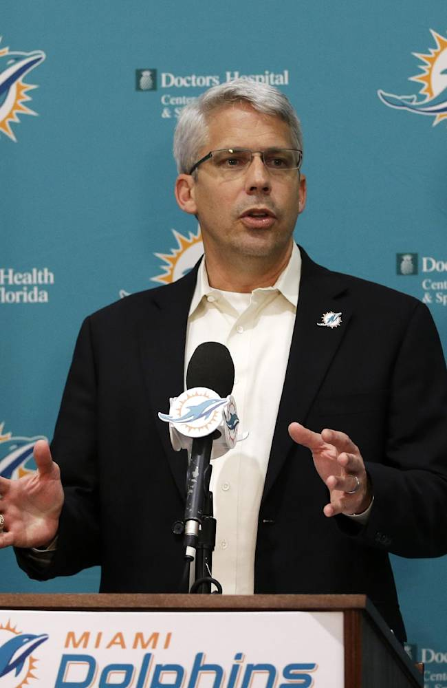 Miami Dolphins general manager Dennis Hickey talks to the media after the conclusion of the 2014 NFL football draft, in Davie, Fla.,  Saturday, May 10, 2014. Miami turned to small-college talent on the third day of the draft, adding a cornerback, tight end, linebacker, receiver and defensive end. Their selections included Liberty cornerback Walt Aikens in the fourth round, Montana linebacker Jordan Tripp in the fifth round, Coastal Carolina receiver Matt Hazel in the sixth round, and defensive end Terrence Fede of Marist in the seventh round