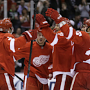Detroit Red Wings surround center Gustav Nyquist of Sweden, center, facing camera, after his goal on Toronto Maple Leafs goalie James Reimer during the second period of an NHL hockey game in Detroit, Wednesday, Dec. 10, 2014 The Associated Press