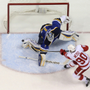 St. Louis Blues goaltender Brian Elliott defends against a point-blank shot by Detroit Red Wings center Stephen Weiss during the first period of an NHL hockey game Thursday, Jan. 15, 2015, in St. Louis The Associated Press