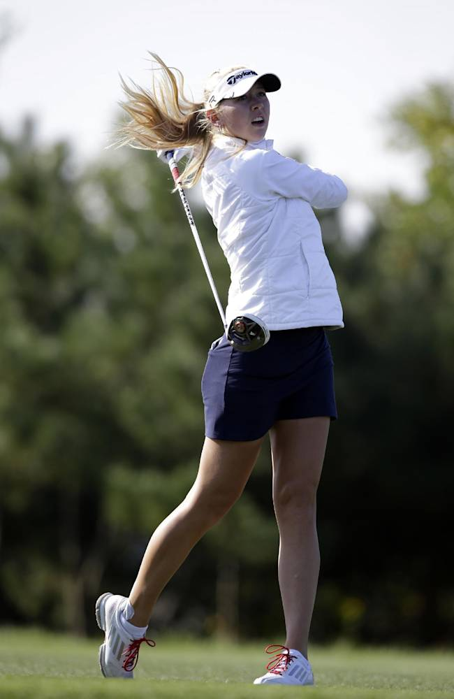 Jessica Korda, of the United States watches her shot on the second hole during the final round of the KEB Hana Bank Championship golf tournament at Sky72 Golf Club in Incheon, west of Seoul, South Korea, Sunday, Oct. 20, 2013