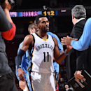 PHILADELPHIA, PA - DECEMBER 13: Mike Conley #11 of the Memphis Grizzlies looks on against the Philadelphia 76ers on December 13, 2014 at Wells Fargo Center in Philadelphia, PA. (Photo by Jesse D. Garrabrant/NBAE via Getty Images)