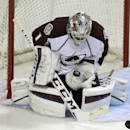 Colorado Avalanche goalie Semyon Varlamov (1) makes a save during the third period of their NHL preseason hockey game against the Los Angeles Kings Saturday, Oct. 4, 2014, in Las Vegas The Associated Press