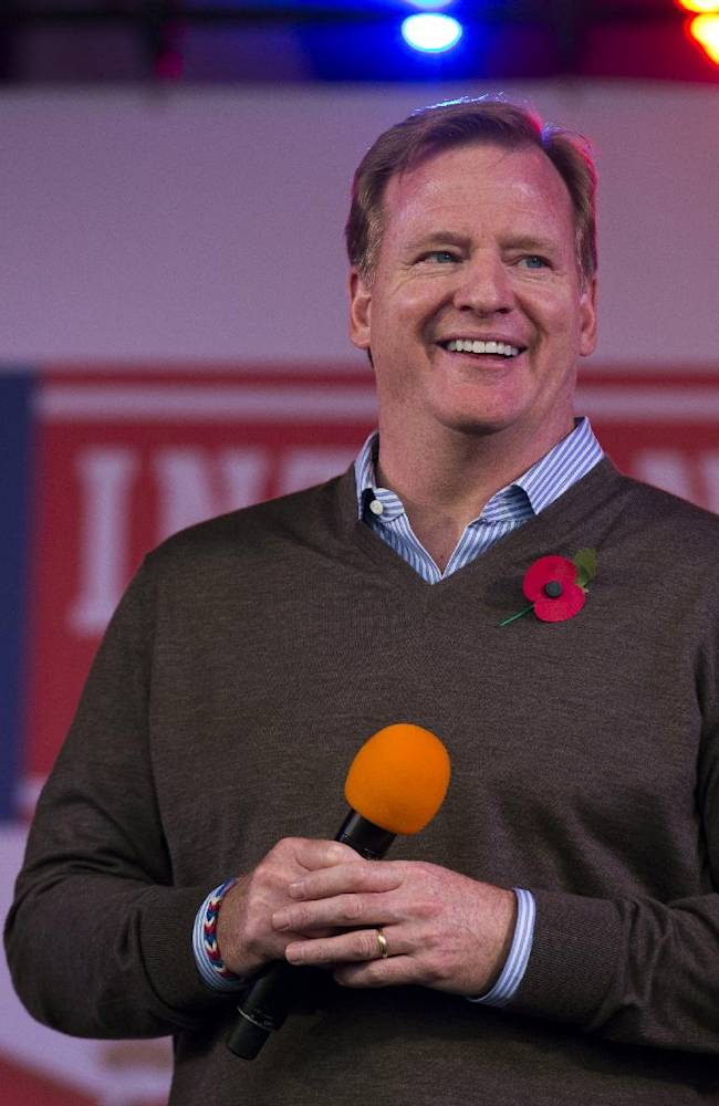NFL Commissioner Roger Goodell smiles as he is interviewed on stage during an NFL fan rally in Trafalgar Square, London, Saturday, Oct. 26, 2013.  The San Francisco 49ers are due to play the the Jacksonville Jaguars at Wembley stadium in London on Sunday, Oct. 27 in a regular season NFL game