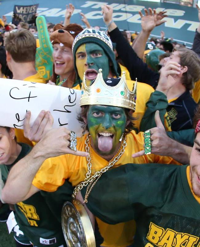 Baylor freshman gather near the end zone before their NCAA college football game against West Virginia, Saturday, Oct.  5, 2013, in Waco, Texas