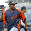 Detroit Tigers left fielder Rajai Davis goes through exercise drills during pregame activities before a baseball game against the San Diego Padres Friday, April 11, 2014, in San Diego The Associated Press