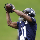Seattle Seahawks wide receiver Percy Harvin makes a catch on the final day of NFL football training camp, Wednesday, Aug. 13, 2014, in Renton, Wash The Associated Press