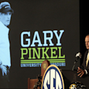 Missouri coach Gary Pinkel speaks to the media at the Southeastern Conference NCAA college football media days, Wednesday, July 16, 2014, in Hoover, Ala. (AP Photo/Butch Dill)