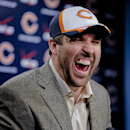 New Chicago Bears NFL football player Jared Allen, laughs during a news conference where Allen was introduced Monday, March 31, 2014, in Lake Forest, Ill. Allen leads the league with 128 1-2 sacks since entering the NFL as a fourth-round draft pick in 2