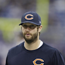Injured Chicago Bears quarterback Jay Cutler walks on the sidelines before an NFL football game against the Minnesota Vikings, Sunday, Dec. 1, 2013, in Minneapolis The Associated Press