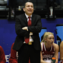 Indiana's head coach Curt Miller encourages his team during the first half of an NCAA college basketball game in the quarterfinals of the WNIT, Sunday, March 30, 2014, in Brookings, S.D. (AP Photo/Eric Landwehr)