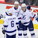 Tampa Bay Lightning's Anton Stralman (6), Steven Stamkos (91) and Jonathan Drouin (27) celebrate after Stamkos opened the scoring against the Winnipeg Jets during the first period of an NHL hockey game Friday, Oct. 24, 2014, in Winnipeg, Manitoba The Asso