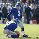 New York Giants kicker Josh Brown (3) kicks a 20-yard field goal as Steve Weatherford (5) holds in the first half of an NFL football game against the Tennessee Titans Sunday, Dec. 7, 2014, in Nashville, Tenn The Associated Press