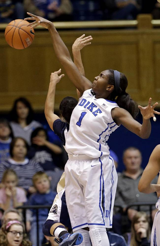 Duke's Elizabeth Williams (1) blocks Pittsburgh's Brianna Kiesel during the first half of an NCAA college basketball game in Durham, N.C., Sunday, Jan. 26, 2014