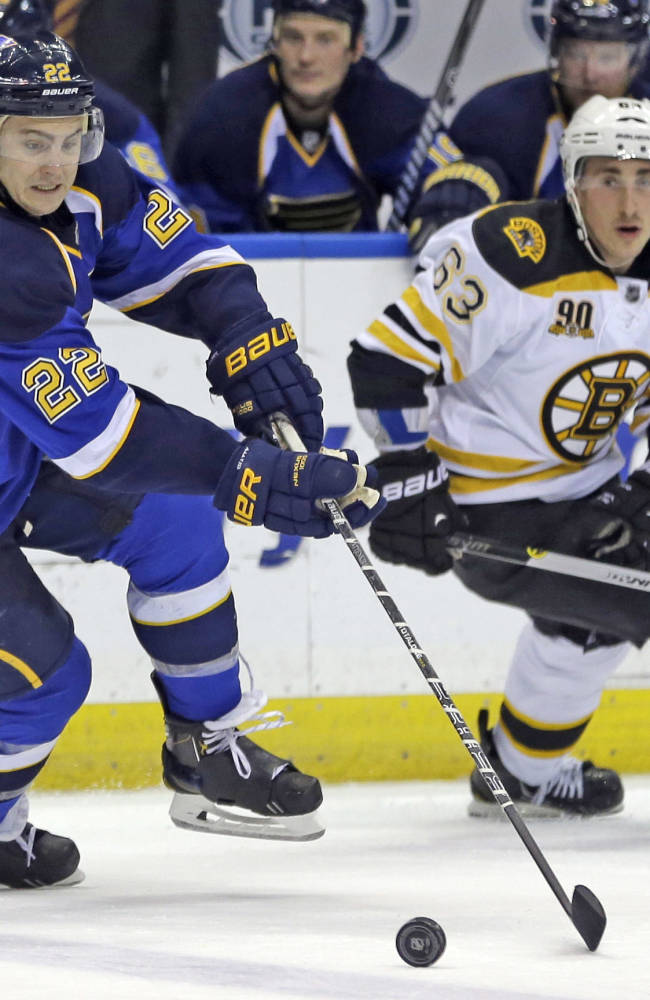 St. Louis Blues' Kevin Shattenkirk, left, and Boston Bruins' Brad Marchand chase after a loose puck during the second period of an NHL hockey game Thursday, Feb. 6, 2014, in St. Louis