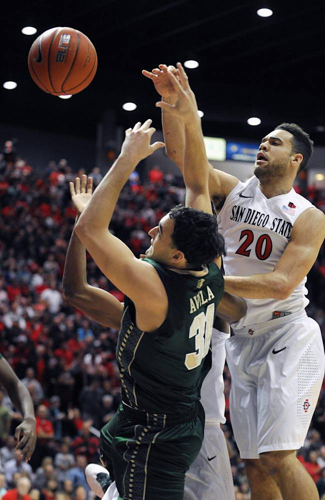 San Diego State's JJ O'Brien (20) fights for a rebound with Colorado State's J.J. Avila (31!) during the first half of an NCAA college basketball game on Saturday, Feb. 1, 2014, in San Diego