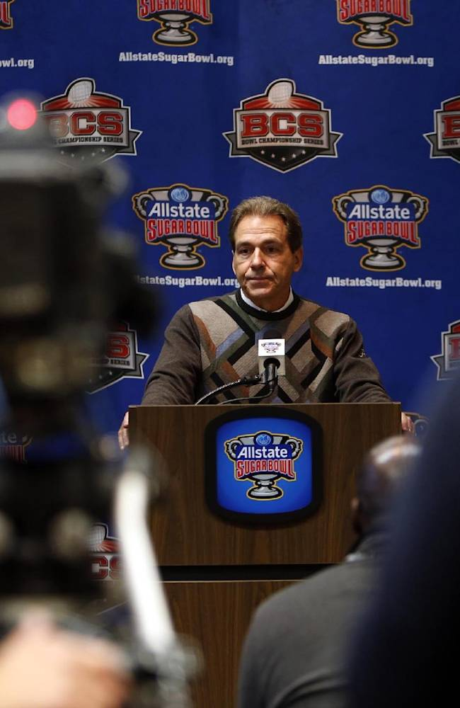 Alabama coach Nick Saban speaks to the media during an NCAA college football news conference on Friday Dec. 27, 2013, in New Orleans. Alabama faces Oklahoma in the Sugar Bowl on Thursday Jan. 2, 2014