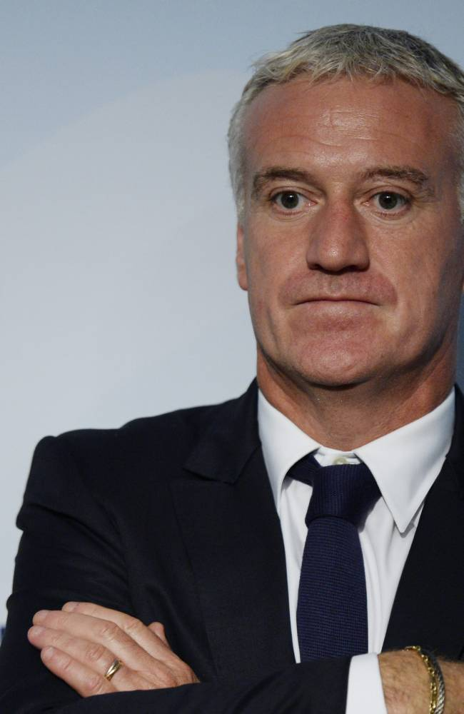 Didier Deschamps, head coach of the national football team of France, looks on following the draw for the 2014 FIFA World Cup European zone play-off  soccer matches on Monday, Oct. 21, 2013, at the FIFA headquarters in Zurich, Switzerland