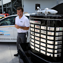 During the announcement that Chevrolet will become a founding partner in the Daytona Uprising expansion project in Daytona Beach, Fla., Wednesday, July 1, 2015, Daytona International Speedway president Joie Chitwood III poses with the Daytona 500 trophy. Beginning in 2016, Chevrolet will have naming rights for one of five fan injectors --multi-level, high-speed escalators-- that are a hallmark of the $400 million renovation of Daytona International Speedway. (Joe Burbank/Orlando Sentinel via AP) MAGS OUT; NO SALES; MANDATORY CREDIT