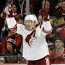 Phoenix Coyotes' Shane Doan celebrates after scoring a goal during the first period of an NHL hockey game against the Chicago Blackhawks in Chicago, Thursday, Nov. 14, 2013 The Associated Press