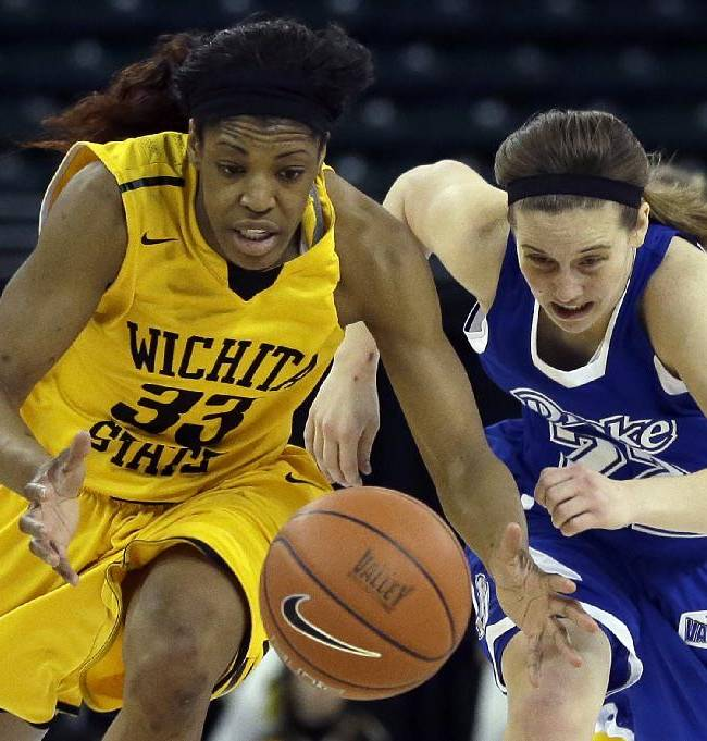 Wichita State's Michelle Price, left, and Drake's Ashley Bartow chase after a loose ball during the first half of an NCAA college basketball game in the championship of the Missouri Valley Conference women's tournament Sunday, March 16, 2014, in St. Charles, Mo