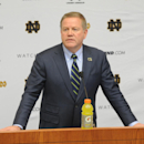 Notr Dame football coach Brian Kelly talks to the media about his 2015 recruiting class in South Bend, Ind. Wednesday Feb. 4, 2015. (AP Photo/Joe Raymond)