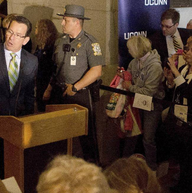 Gov. Dannel P. Malloy speaks about the achievements of Connecticut NCAA college athletics during Husky Day at the Connecticut Capitol on Wednesday, April 30, 2014, in Hartford, Conn
