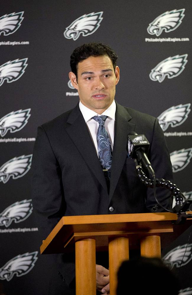 Philadelphia Eagles quarterback Mark Sanchez speaks during a news conference at the NFL football team's training facility, Friday, March 28, 2014, in Philadelphia. Sanchez agreed to a one-year contract with the Eagles after the New York Jets signed Michael Vick last Friday