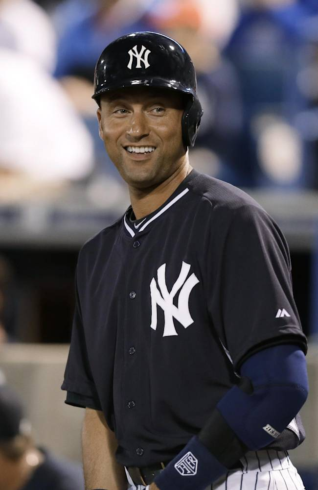 New York Yankees designated hitter Derek Jeter waits to bat in the first inning of an exhibition baseball game against the Baltimore Orioles on Tuesday, March 4, 2014, in Tampa, Fla
