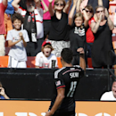 D.C. United midfielder Luis Silva (11) celebrates after his goal during the second half of an MLS soccer match against the New York Red Bulls, at RFK Stadium, Sunday, Aug. 31, 2014, in Washington. United won 2-0 The Associated Press