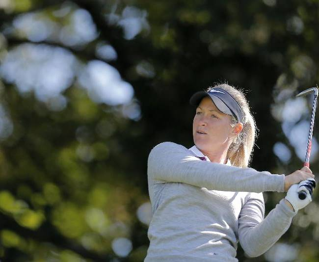 Suzann Pettersen of Norway plays on the second hole during the first round of the Evian Championship women's golf tournament in Evian, eastern France, Friday, Sept. 13, 2013