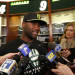 New York Jets quarterback David Garrard, left, talks to reporters during a locker room availability at the team's NFL practice practice facility in Florham Park, N.J., Thursday, May 2, 2013. The Jets may have cut Tim Tebow but their situation at quarterback is far from settled. New general manager John Idzik says Gerrard, Mark Sanchez, Greg McElroy, Matt Simms and second-round draft pick Geno Smith are all candidates to be the starter