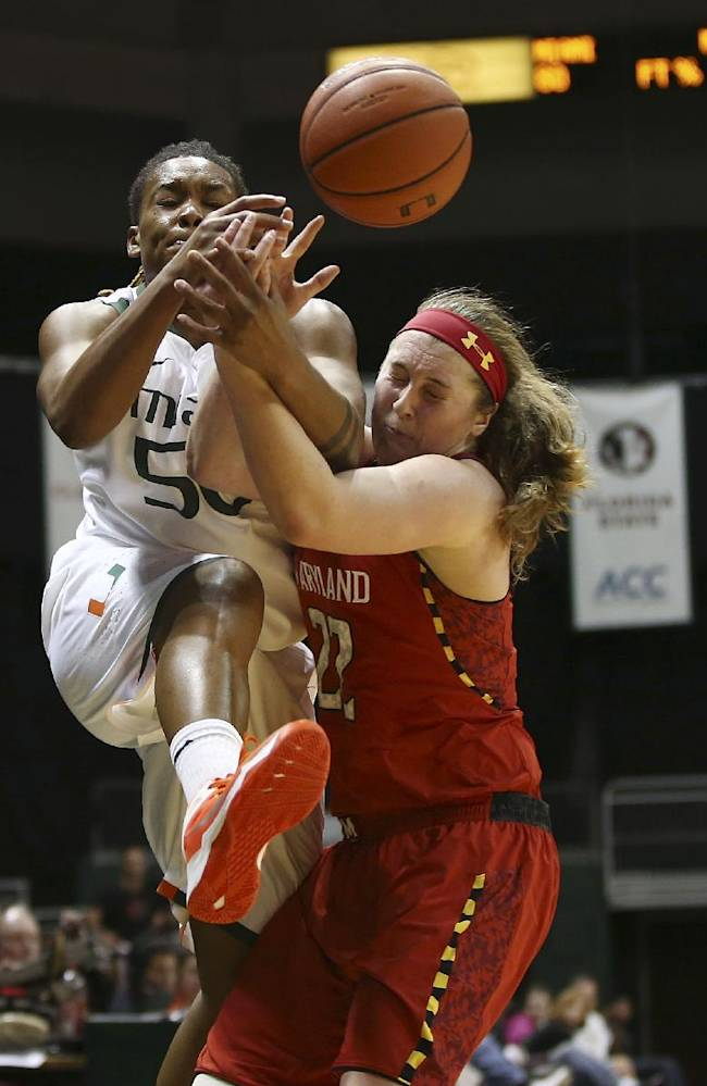 Maryland's Tierney Pfirman (22) tries to stop Miami's Maria Brown (50) from keeping the ball inbounds during the second half of an NCAA college basketball game in Coral Gables, Fla., Thursday, Feb. 13, 2014. Maryland won 67-52