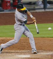 Oakland Athletics' Coco Crisp hits a two-run home run to left field in the seventh inning during a baseball game against the Houston Astros, Wednesday, July 24, 2013, in Houston. (AP Photo/Patric Schneider)
