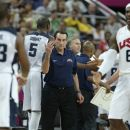 USA's head coach Mike Krzyzewski, center calls over Chris Paul during a men's quarterfinals basketball game against Australia at the 2012 Summer Olympics, Wednesday, Aug. 8, 2012, in London. (AP Photo/Charles Krupa)