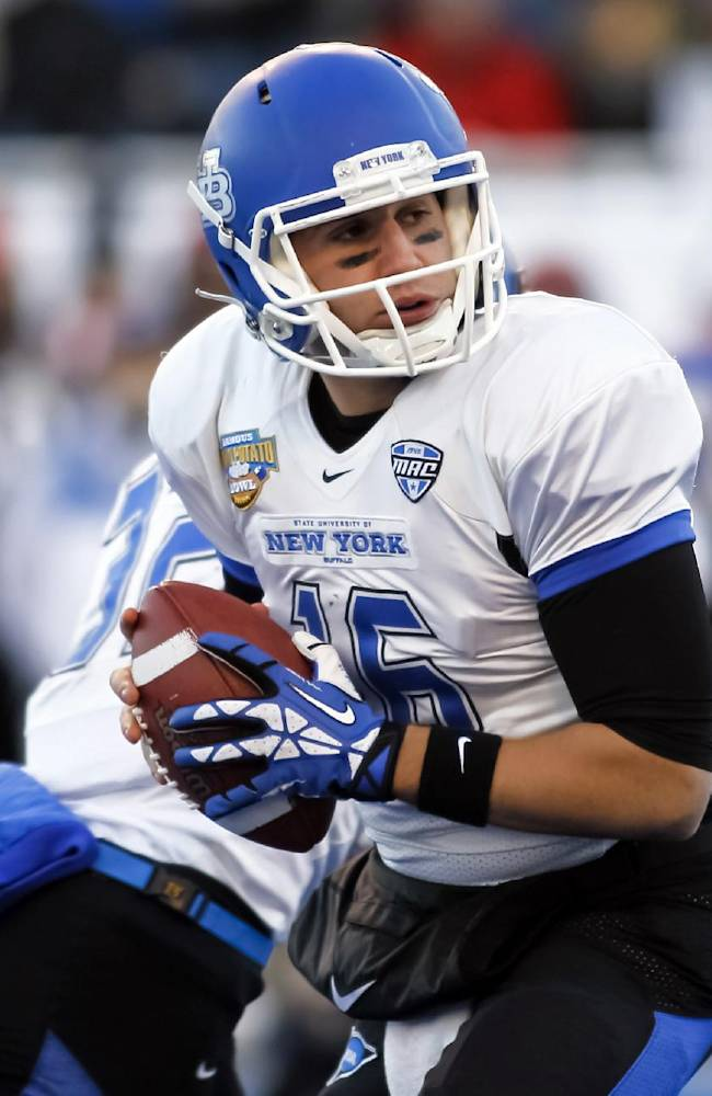 Buffalo quarterback Joe Licata (16) looks for a receiver during the first half of the Famous Idaho Potato Bowl NCAA college football game against San Diego State in Boise, Idaho, on Saturday, Dec. 21, 2013
