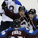 Colorado Avalanche right wing P.A. Parenteau, top, Avalanche center Matt Duchene, right, and Avalanche center Ryan O'Reilly, bottom, celebrate a goal by Parenteau in the third period of an NHL hockey game against the St. Louis Blues on Saturday, March 8,
