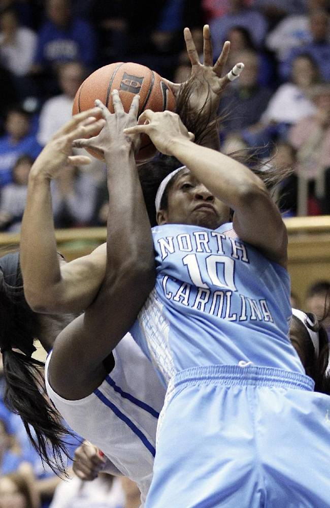 North Carolina's Danielle Butts (10) and Duke's Elizabeth Williams struggle for a rebound during the second half of an NCAA college basketball game in Durham, N.C., Monday, Feb. 10, 2014. North Carolina won 89-78