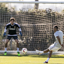 Former Arsenal and Chelsea defender Ashley Cole, right, practices with Major League Soccer LA Galaxy at the StubHub Center in Carson, Calif., on Friday, Feb. 5, 2016. With the signing, Cole joins Steven Gerrard and Robbie Keane as the biggest stars on the