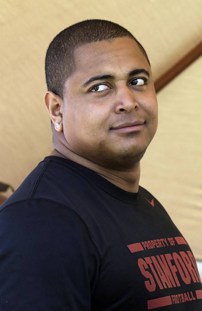 San Francisco 49ers offensive tackle Jonathan Martin attends Stanford's pro day for NFL football representatives in Stanford, Calif., Thursday, March 20, 2014