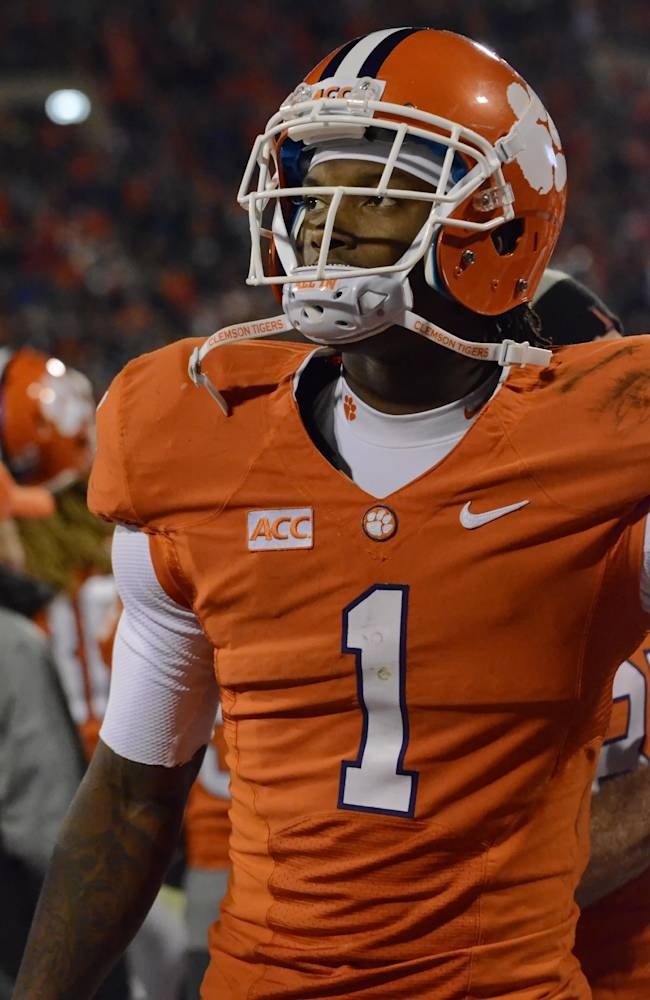 Clemson's Martavis Bryant walks the sidelines during the second  half of an NCAA college football game against Georgia Tech Thursday, Nov. 14, 2013, at Memorial Stadium in Clemson, S.C. Clemson won 55-31