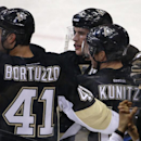 Pittsburgh Penguins' Sidney Crosby (87) celebrates his goal with teammates Chris Kunitz (14), Robert Bortuzzo (41), and Lee Stempniak, in the third period of an NHL hockey game against the Chicago Blackhawks in Pittsburgh, Sunday, March 30, 2014. Crosby s