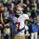 San Francisco 49ers quarterback Colin Kaepernick passes in the first half of an NFL football game against the Seattle Seahawks, Sunday, Dec. 14, 2014, in Seattle The Associated Press